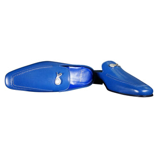 Cobalt With Silver Hardware Leather Slipper