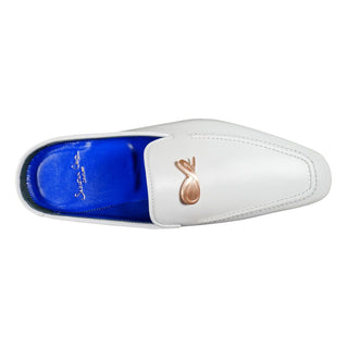 Bianco With Rose Gold Hardware Leather Slippers
