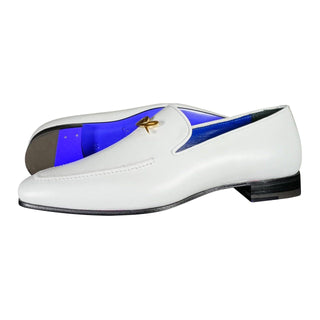 Bianco With Yellow Gold Hardware Leather Loafers