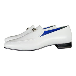 Bianco With Silver Hardware Leather Loafers