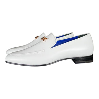 Bianco With Rose Gold Hardware Leather Loafers