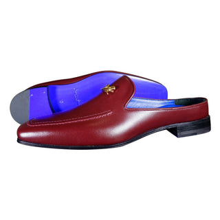 Bordo With Yellow Gold Hardware Leather Slippers