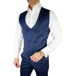 Navy Blue Lucentezza Double Breasted Waistcoat