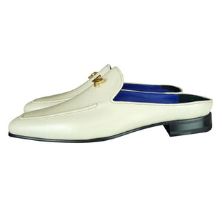 Classica Mascarpone With Yellow Gold Hardware Leather Slippers