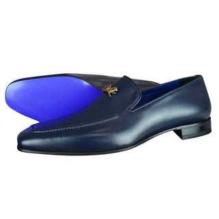 Classica Blu Mezzanotte With Yellow Gold Hardware Leather Loafer