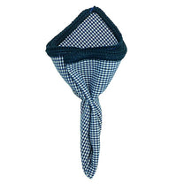 Houndstooth Mezzanotte with Navy Blue Signature Border