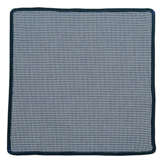 Houndstooth Mezzanotte with Navy Blue Signature Border - Sebastian Cruz Couture