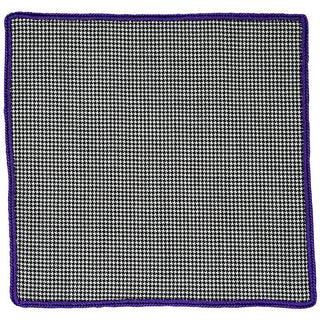 Houndstooth Cachemire with Purple Signature Border - Sebastian Cruz Couture