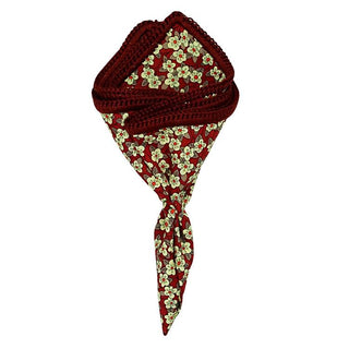 Carmine Mini Fiori with Burgundy Signature Border - Sebastian Cruz Couture