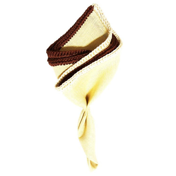 Almond Crema with Brown and Off White Signature Border - Sebastian Cruz Couture