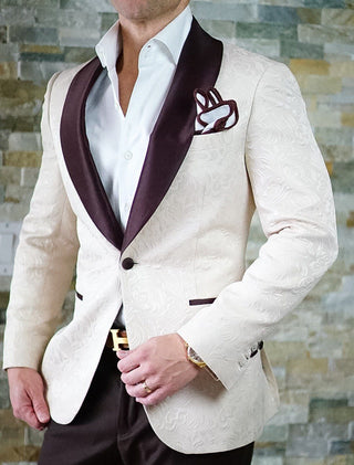 S by Sebastian Ivory & Brown Paisley Dinner Jacket