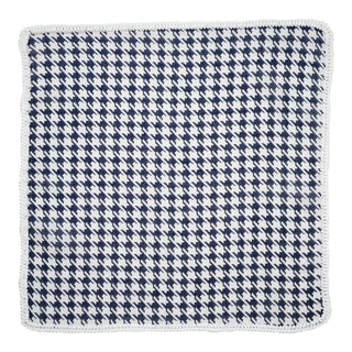 Navy Houndstooth with White Signature Border
