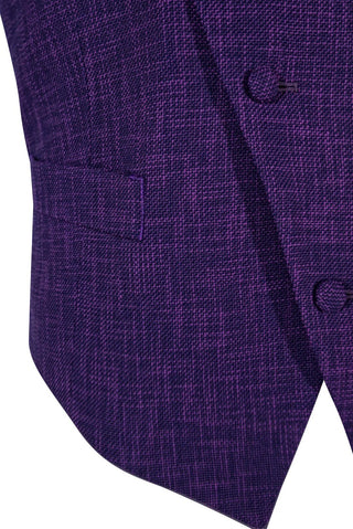 Violet Lino Tweed Double Breasted Waistcoat