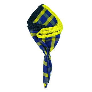Plaid Blue Sole with Navy Blue and Yellow Signature Border