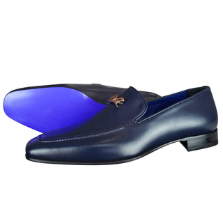 Classica Blu Mezzanotte With Rose Gold Hardware Leather Loafer