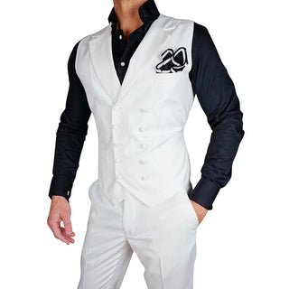 S by Sebastian White Double Breasted Waistcoat