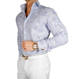 S by Sebastian Stone Blue Woven Paisley Dress Shirt