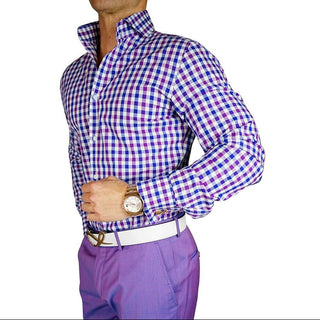 S by Sebastian Plum Blu Gingham Dress Shirt