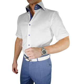 White Denim Weavetex Short Sleeve Shirt