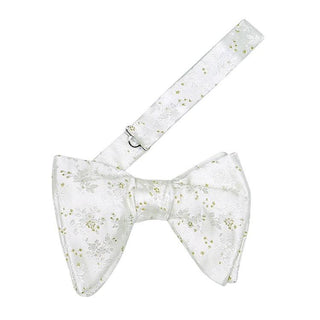 Venetian Paisley In White Argento Jumbo Pre Tied Butterfly Bow Tie