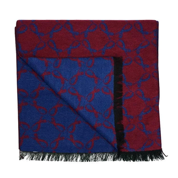 Signature Brushed Silk Scarf In Navy Sangria
