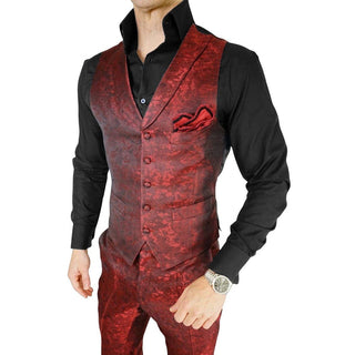 S by Sebastian Burgundy Double Breasted Waistcoat
