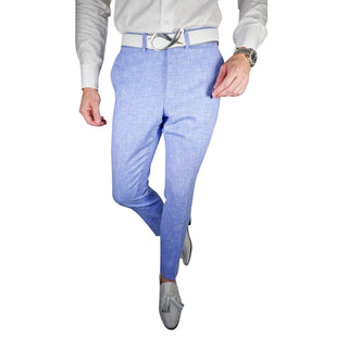 Lilac Blu Lino Tweed Trousers