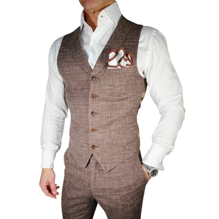Cranberry Cardinale Lino Tweed Double Breasted Waistcoat