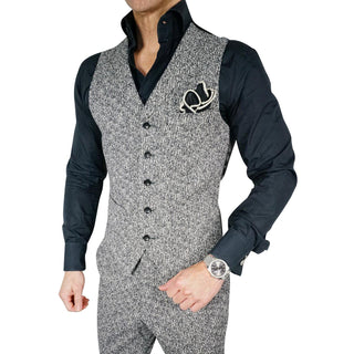 Carbone Lino Tweed Double Breasted Waistcoat