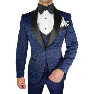 Navy Blue & Black Paisley Dinner Jacket