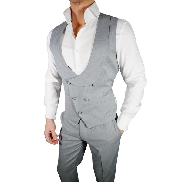 S by Sebastian Fossil Grey Double Breasted Waistcoat