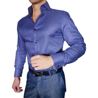 S by Sebastian Denim Blu Mesh Houndstooth Dress Shirt