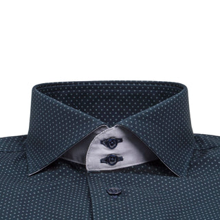 Navy Diamond Pindot Short Sleeve Shirt