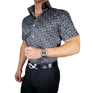 Bamino Blu Mini Paisley Dress Shirt