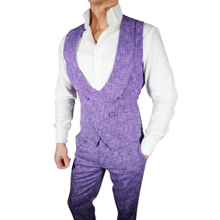 S by Sebastian French Blu Lino Tweed Double Breasted Waistcoat