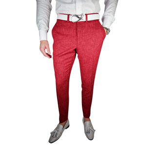 Cranberry Cardinale Lino Tweed Trousers