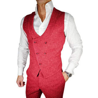 French Blu Lino Tweed Double Breasted Waistcoat