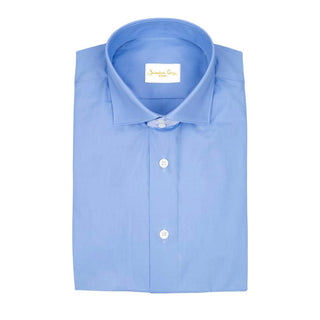 Blu Poplin Short Sleeve Shirt