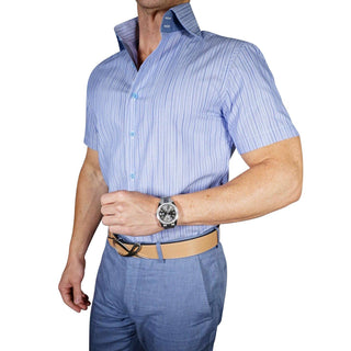 Navy Sapphire Gingham Dress Shirt