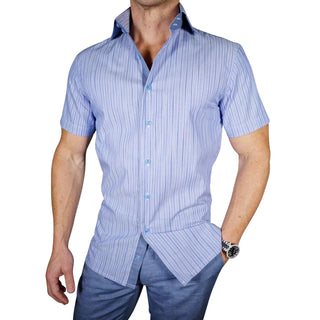 S by Sebastian Blu Slate Pencil Stripe Short Sleeve Shirt