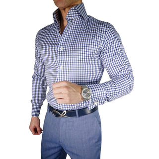 S by Sebastian Blu Viola Windowpane Dress Shirt