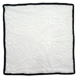 White Daisy with Black Signature Border