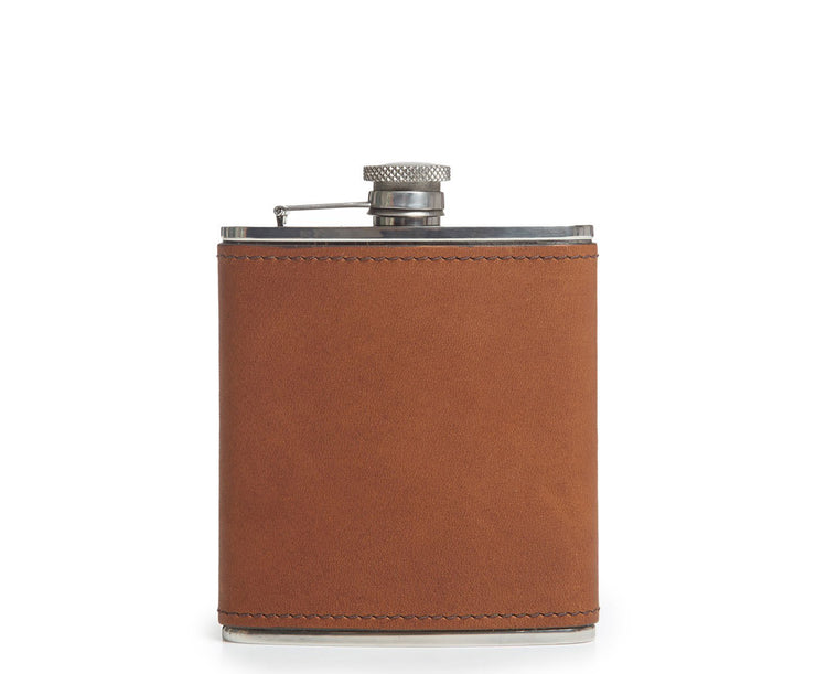 Espresso Leather hip flask Keep your libations ready to access on the go with the Arlo stainless steel flask. The Arlo is wrapped in full-grain American leather and includes a steel flask funnel.