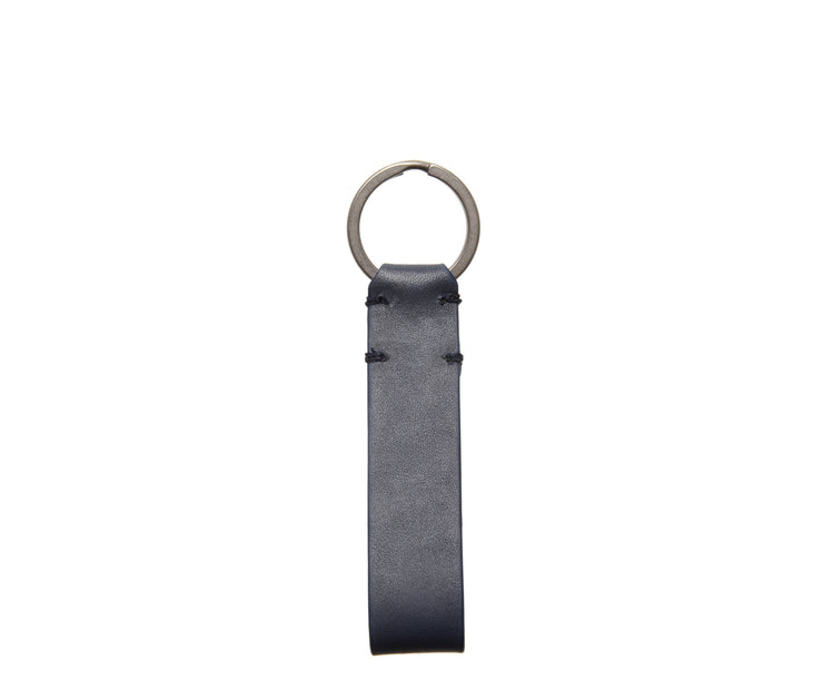Ocean Blue Leather Snap Loop Key Chain