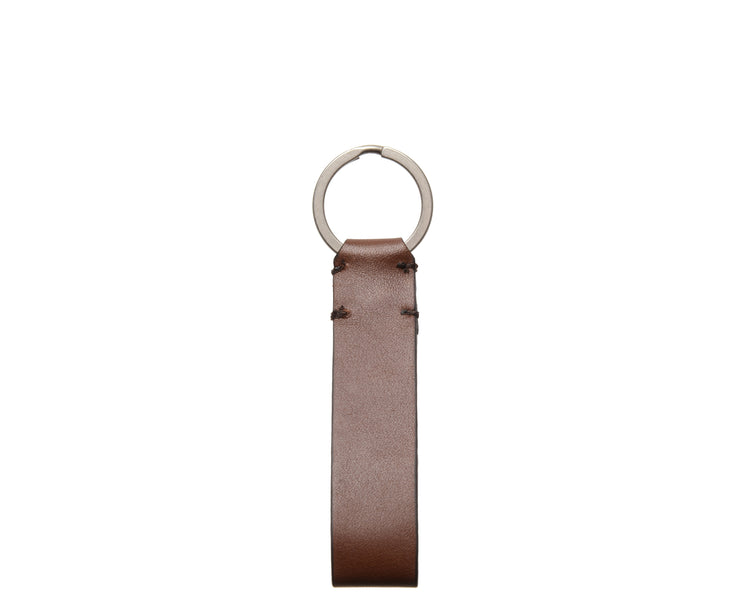 Brown Leather Snap Loop Key Chain