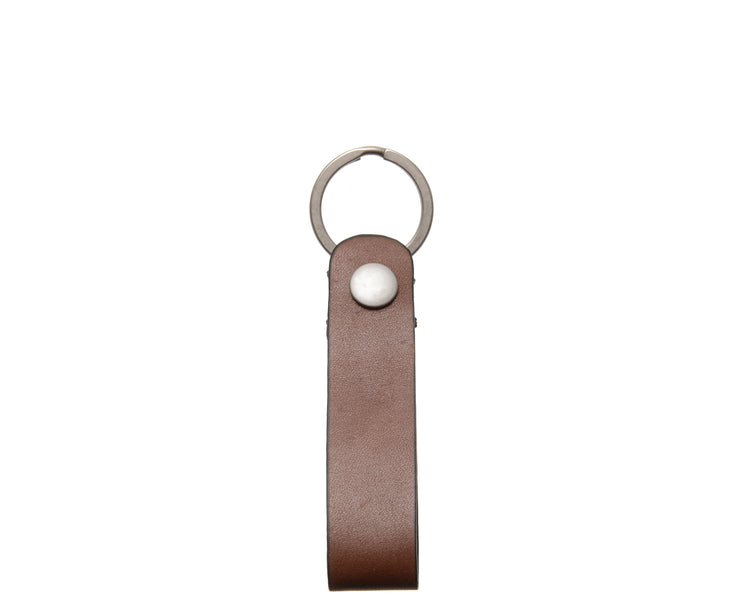 "Brown Full grain mill dyed American leather Steel key rings Handcrafted with care in our own factory Dimensions: 5"" x 1.25""  FREE Monogramming up to 3 letters."