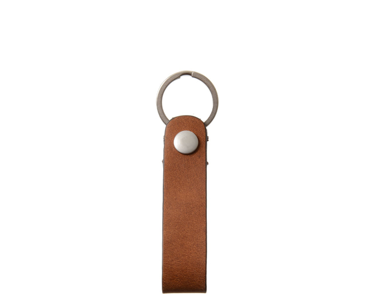 "Espresso Full grain mill dyed American leather Steel key rings Handcrafted with care in our own factory Dimensions: 5"" x 1.25""  FREE Monogramming up to 3 letters."
