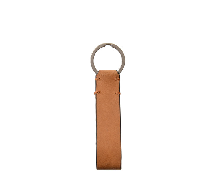Tan Leather Snap Loop Key Chain
