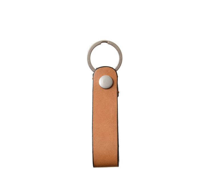 "Tan Full grain mill dyed American leather Steel key rings Handcrafted with care in our own factory Dimensions: 5"" x 1.25""  FREE Monogramming up to 3 letters."
