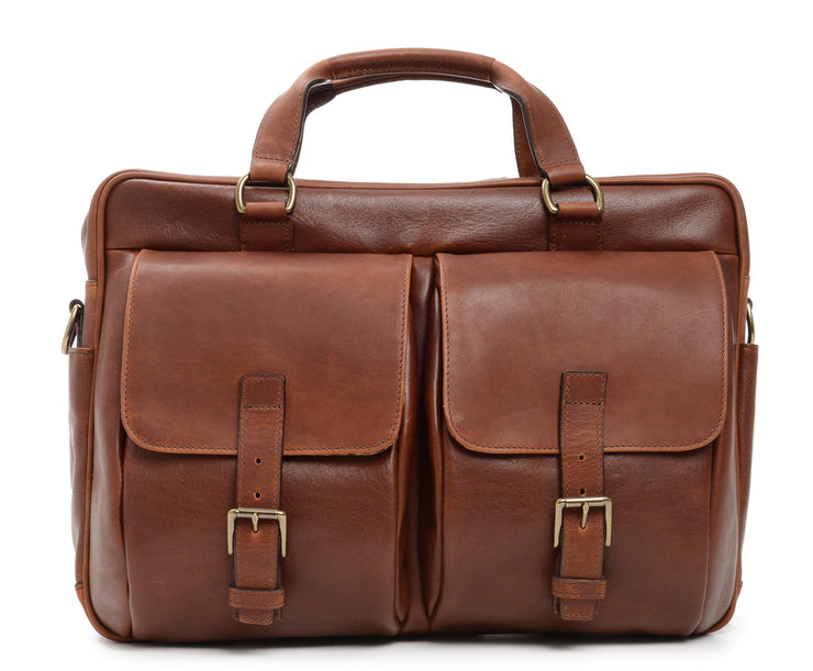 The Barton By Korchmar - Full Grain Chocolate Leather Laptop Briefcase